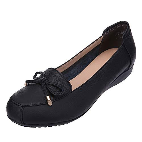 Jamron Damen Echtleder Komfort Schuhe Weich Sohle Ballerinas Niedrige Keilabsatz Slippers Schwarz SN020628 EU40