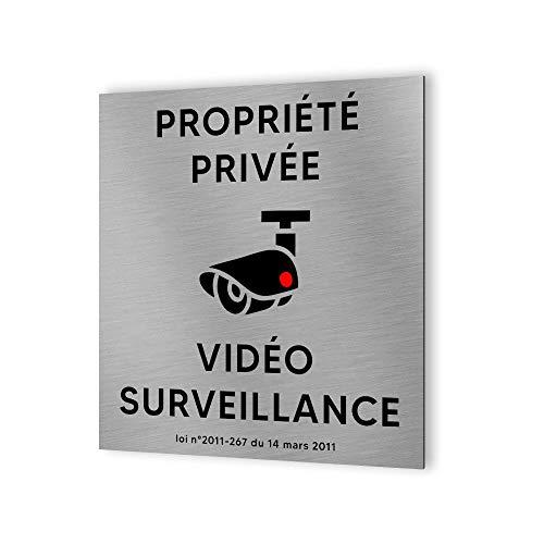 Piktogramm Hinweisschild Format 20 cm x 20 cm aus Dibond gebürstetes Aluminium – Modell Videoüberwachung privat