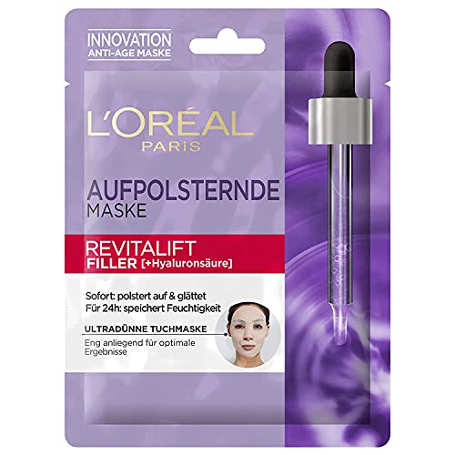 L'Oréal Paris Hyaluron Tuchmaske, Revitalift Filler, Anti-Aging Gesichtspflege, Mit Hyaluronsäure, 1 x 30g