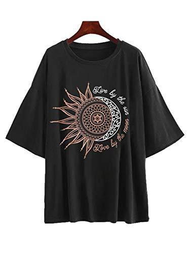 Fenxxxl Womens Drop Shoulder Cute Oversized Shirt Sun Moon Letter Print Graphic Tee Loose Junior Tops Casual Boyfriend Tee F491-396-Black M