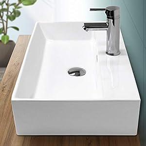 ECD Germany Lavabo Rectangular cerámica con Agujero Grifo – Blanco – Aseo lavamanos sobre encimera – 605x365x130 mm – diseño Moderno – Pila sin desbordamiento desagüe para el Cuarto de baño