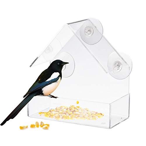 PIGMAMA Fenster Vogelfutterautomat Transparenter Vogelfutterautomat Transparenter Acryladsorptionstyp Hausform Vogelfutterautomat Innovativer Saugnapf-Feeder Für Die Genaue Beobachtung