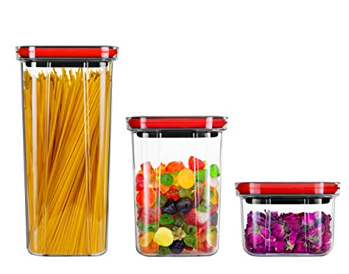 Miuly 3個セット 600ml・1300ml・2000ml 貯蔵タンク 角型保存容器密封湿気を防ぐキッチン収納瓶 パスタ 小麦粉 米 コーヒー豆食品貯蔵タンク(S+M+L)