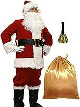 WHOBUY Men's Deluxe Santa Suit 11pc. Christmas Adult Santa Claus M