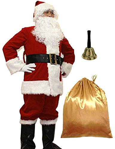 WHOBUY Men's Deluxe Santa Suit 11pc. Christmas Adult Santa Claus L Red