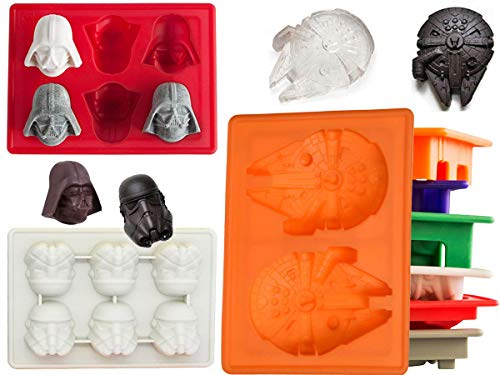 Star Wars Non-Stick Ice Cube Tray Silicone Mold, Soap & Candle Making,Candy Moulds, Chocolate Moulds, for Kids Party's & Baking Building Block Themes & Cake Muffin Cupcake Gumdrop Jelly(Set of 3 pcs)