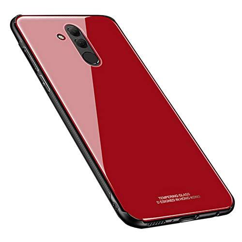 Kepuch Quartz Case Capas TPU &Voltar (Vidro Temperado) para Huawei Mate 20 Lite - Vermelho