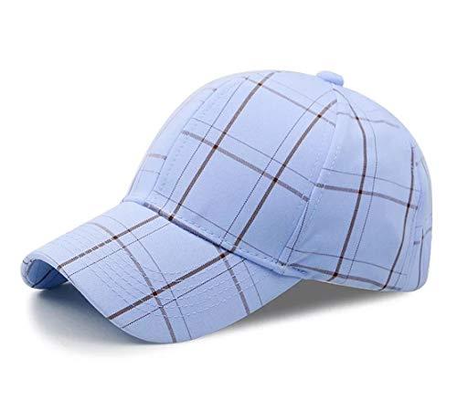Baseball Cap Damen Duck Tongue Cap Verstellbar Baumwolle Outdoor Sport Klassische Karierte (Blau)