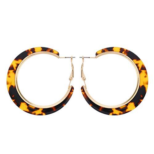 Ruby569y Pendientes colgantes para mujeres y niñas, diseño de leopardo, redondo, círculo, aretes de aro para fiestas, joyas de leopardo oscuro