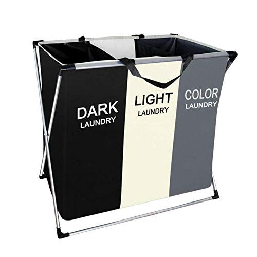 Cortadora de lavandería Shdream, Canasta de lavandería Plegable con 3 Secciones Clasificador de Ropa Sucia, Bolsa de Ropa Sucia para baño Dormitorio Hogar