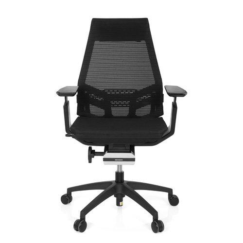 hjh OFFICE 652884 Profi Bürostuhl Drehstuhl GENIDIA SMART Black, Netz-Stoff, Schwarz, ergonomischer Schreibtisch-Stuhl mit verstellbaren Armlehnen für das Büro, Synchron-Mechanik, Home-Office
