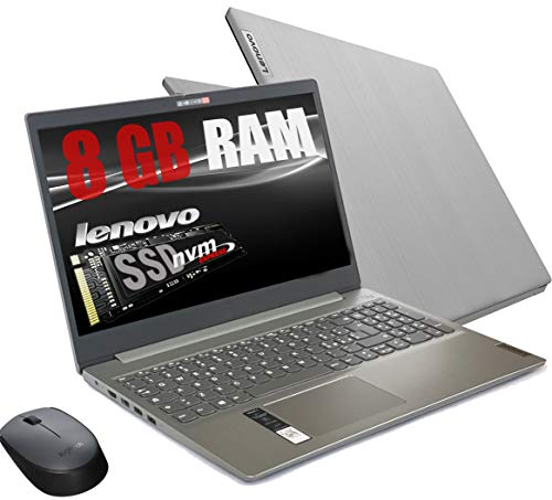 Notebook Lenovo Silver Ram 8 Gb DDR4 SSD M.2 PCi da 256Gb cpu Amd A4 3020 New Gen./ Display Hd da 15,6 pollici /Open Office 2019 / web cam, 3usb hdmi bt Windows 10 Pro /Pronto All'uso+ Mouse Wifi