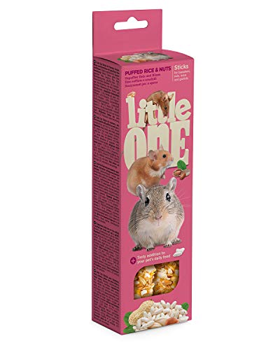 Little One Sticks für Hamsters, Ratten, Mäuse und Rennmäuse mit gepufftem Reis und Nüssen in Schachtel, 4er Pack (4 x 110 g)