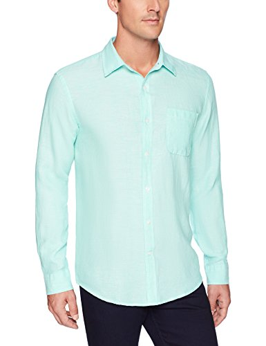 Amazon Essentials Men's Regular-Fit Long-Sleeve Linen Shirt, aqua, X-Small