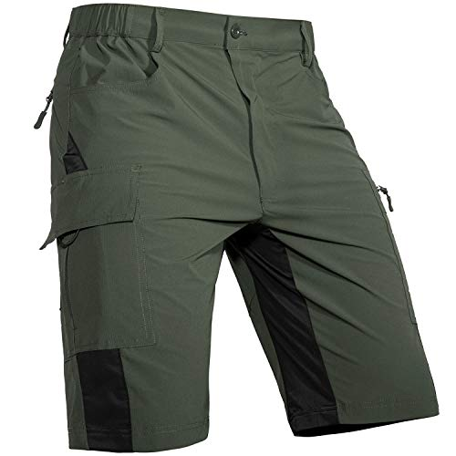 Cycorld-Men's-Outdoor-Hiking-Shorts-Quick-Dry-Lightweight Stretchy for Cargo Casual Climbing Camping(Army Green, X-Large)