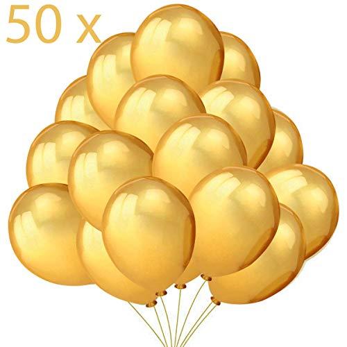 Jonami 50 Gold Luftballons Golden Ballon Premiumqualität 36 cm Partyballon 3g. Deko Party Feier Dekoration für Neujahr, Geburtstag und Geburtstagsdeko