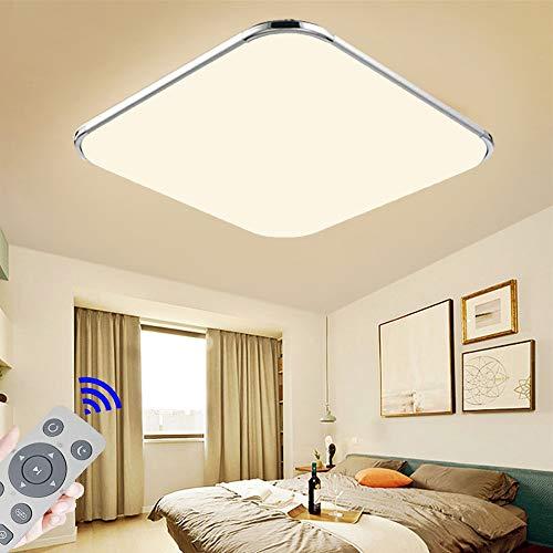 LED Deckenleuchte Dimmbar mit Fernbedienung 48W Deckenlampe für Schlafzimme Wohnzimmer Küche Flur Esszimmer Silberrahmen 3000-6500K[Energieklasse A++]
