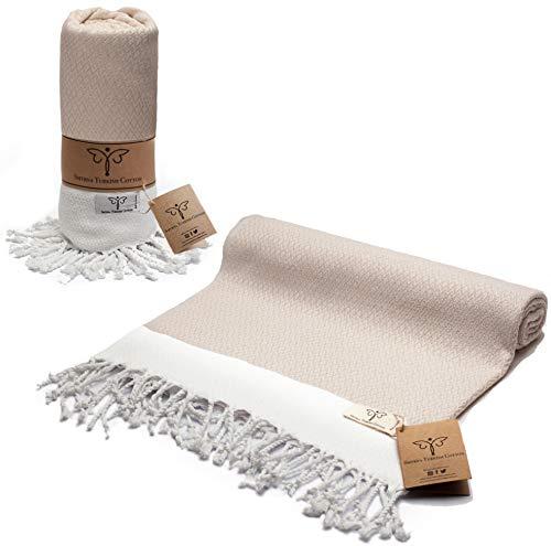 Smyrna Original Turkish Beach Towel Cotton, Prewashed, 37 x 71 Inches | Peshtemal and Turkish Bath Towel for SPA, Beach, Pool, Gym and Bathroom (Cream)
