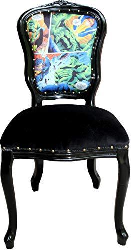 Casa Padrino Silla de Comedor barroca Comic/Negro - Silla de diseño - Muebles de diseño
