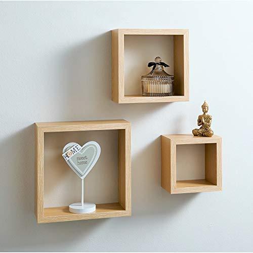 spot on dealz Cali Wall Floating Cube Box Shelf/Shelves Set of 3 Wall Hanging Display Shelving Unit-Oak