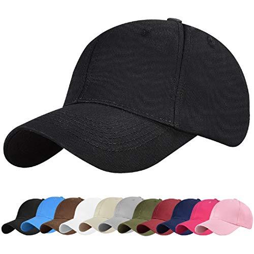 UMIPUBO Gorras Beisbol Deportes Unisex Adjustable al Aire Libre Cap clásico algodón Casual Sombrero Gorras de béisbol (Negro)