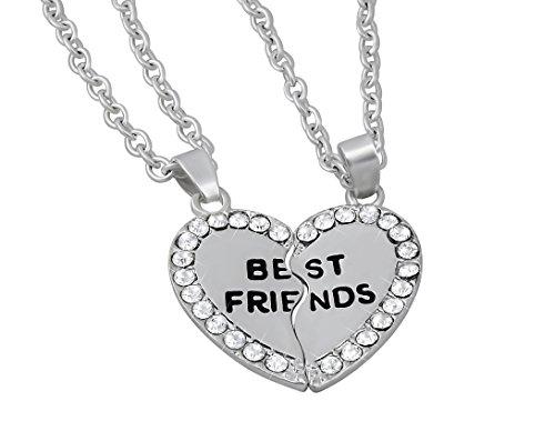 Hanessa Mädchen Schmuck 2 Freundschafts-Halskette Best Friends in Silber Herz Ketten Puzzle Geschenk zum Valentinstag für die Beste Freundin