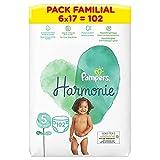 Pampers Couches Harmonie taille 5, (11-16 kg) Hypoallergénique - LOT DE 6 X 17 pièces - 102 couches