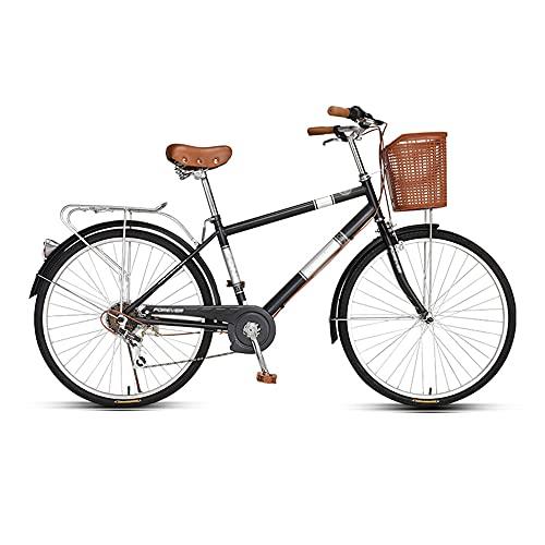 Bicicleta, Bicicleta de Viaje de Moda Retro para Adultos, Bicicleta de Ocio de 26 Pulgadas, Altura Del Asiento Ajustable, Marco de Acero de Alto Carbono Ajustable de 7 Velocidades/A / 172
