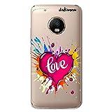 Dakanna Funda compatible con [ Lenovo Moto G5 Plus ] de Silicona Flexible, Dibujo Diseño [ Corazón watercolor con frase love ], Color [Fondo Transparente] Carcasa Case Cover de Gel TPU para smartphone