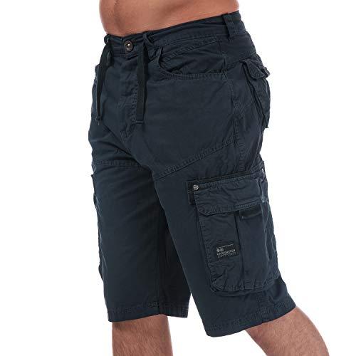 Mens Crosshatch Black Label Chaseforth Cargo Shorts in Navy