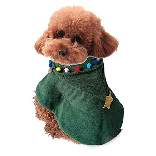Heren huisdier kerst kostuum, groene kerstboom stijl capuchon, Kerstmis Cosplay kleding voor kat hond, S