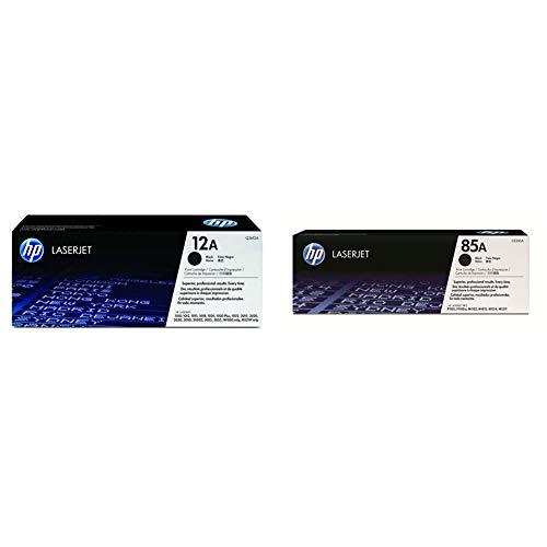 HP 12A Q2612A, Negro, Cartucho Tóner Original, de 2.000 páginas, para impresoras Laserjet Serie +85A CE285A Negro, Cartucho Tóner Original, de 1.600 páginas, para impresoras Laserjet