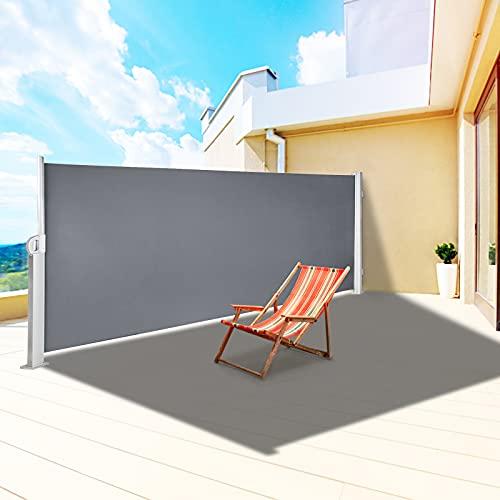 VEVOR Paravent Retractable Exterieur Double, Store Latéral Paravent Extérieur Rétractable, Auvent Store Latéral Enroulable Protège du Soleil ou du Vent (160X300cm, Gris)