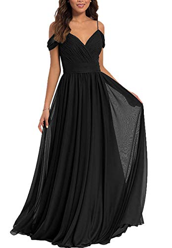 V Neck Bridesmaid Dresses Long Chiffon Aline Pleated Backless Prom Evening Gown for Women