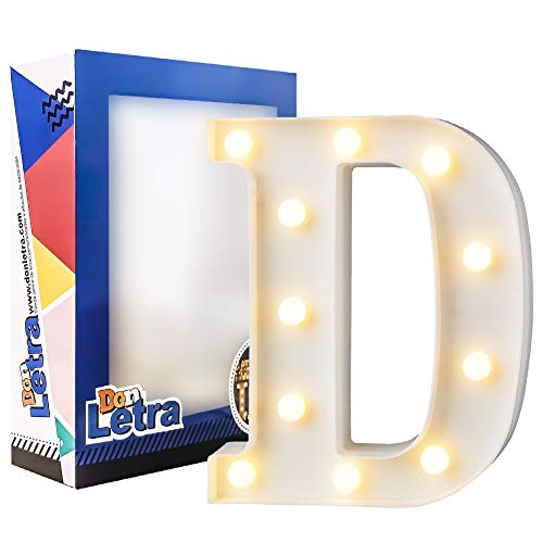 DON LETRA Letras Decoración Luminosa para Habitación de Niños, Luces LED con 11 Bombillas, 2 Pilas AA, Plástico, Decoración del Hogar, Altura de 22cm- Letra D
