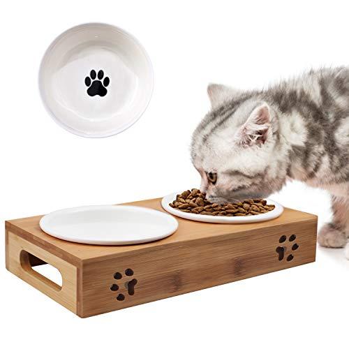 O'woda Bol pour Chat et Chien,Gamelle Ceramique Chat avec Support en Bambou,Gamelle Anti Glouton Chats, 14cm Diamètre 400ML Capacité Bol, Base 31 x 15 x 5.5cm