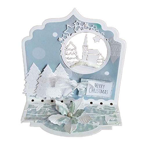 Lai-LYQ Stanssjablonen, bladeren, gestanst, voor scrapbooking, kerstboom, reliëf, sjablonen, papier, handwerk, kerstdecoratie, festival, cadeau
