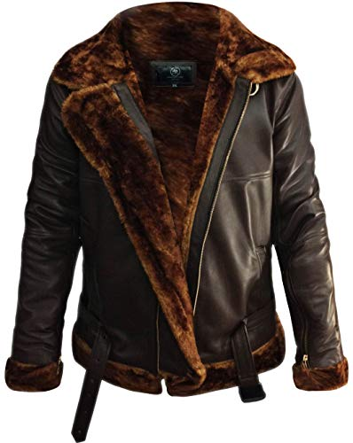 B3 Bomber Jacket Men Shearling Bomber Jacket - Leather Bomber Jackets For Men Sheepskin Aviator Raf Bomber Jacket (Medium - (For Body Chest 38-40), Brown)