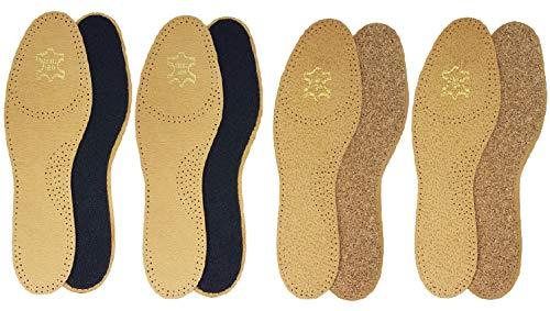 Green Feet 2 Paar Schuheinlagen aus Leder mit Sohle aus Kork, Einlegesohle, Damen, Herren, Gr. 38