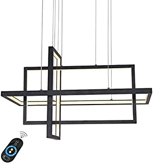 LightInTheBox Dimmable LED Pendant Light Chandeliers Ceiling Lighting Fixture Lamp for Dining Room, Bedroom Dimmable with Remote Control 4000LM (Black)