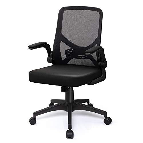 VigorPow Mesh Office Chair Ergonomic Mid Back Swivel Foldable Black Desk Computer Chair with Flip Up Arms Adjustable Height and Lumbar Support Office Task Chair