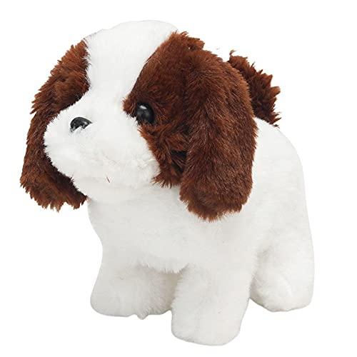 QiKun-Home Intelligentes elektrisches Spielzeug für Kinder Plüsch kann Walking Smart Machine Hund Kindergarten Spielzeug Geburtstagsgeschenk anrufen braun + weißer Beagle