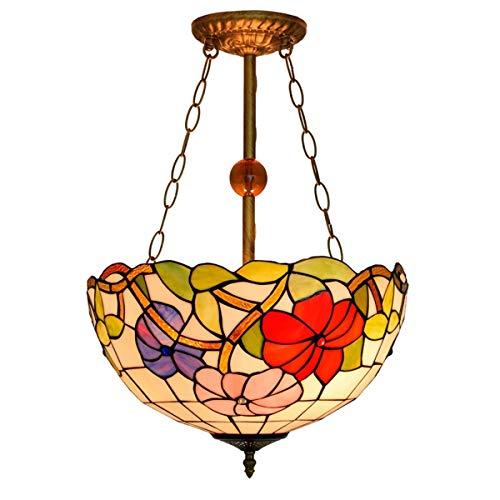 Lámpara colgante Tiffany de 16 pulgadas de estilo Tiffany creativa, Morning Glory de cristal con mantas de mesa de comedor, lámpara de bar, dormitorio, arte, decoración de salón