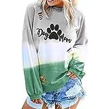 Sudadera Mujer Larga 2019 Dog mom de Cartas - Vibrante Joven Suéter Street Otoño e Invierno de Fossen - Tops Abrigos para Chicas Adolescentes Originals