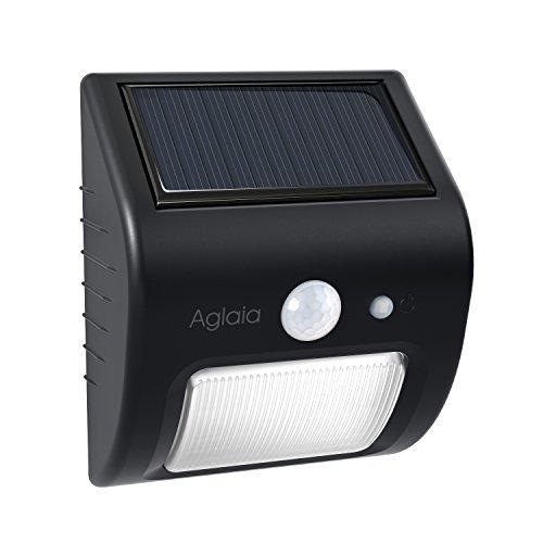 Aglaia Luce Solare Sensore Movimento, 8 LED 2 W con modalità auto, IP65 resistenza per giardino, Patio/esterni (Nero)