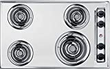 Summit Appliance ZEL05 30' Wide 230V Electric Cooktop in Chrome Fits Popular Cutout Size with 4 Coil Elements, Chrome Drip Bowls, Push-to-turn Controls, Recessed Top, One 8' Burner & Three 6' Burners