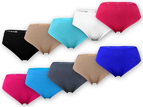 sockenkauf24 5 oder 10 Damen Slips Microfaser im bunten Farbmix, in schwarz oder Weiß (XXL = 48/50, 10 Stück   Farbmix)