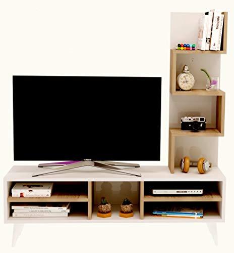 Homidea Lily Ensemble de Meubles de Salon - Blanc (Brillant) / Avola (Mat) - Meuble TV dans ES Couleurs Brillantes avec étagères en Moderne Design
