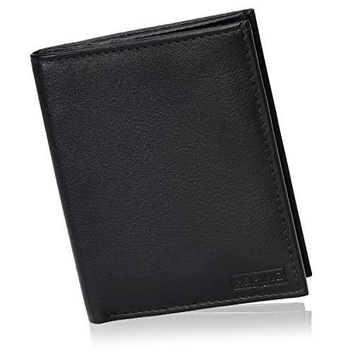 HEMING Portafoglio uomo slim nero - 100% pelle - Portafoglio uomo piccolo sottile - Portafoglio porta carte di credito - Porta soldi e carte di credito - Portacarte uomo pelle - Portafoglio compatto