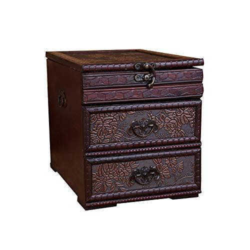 Cajón Antiguo Organizador De Belleza 3 Cajones- Caja De Almacenamiento Cosmético De...